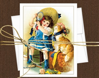 Victorian Children Cards Blank Note Cards, Set of 10 Cards & Envelopes, Maude Humphrey Children Art Cards
