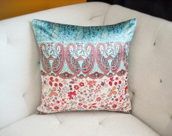 Teal Gold Red Satin 18x18 Print Pillow Cover