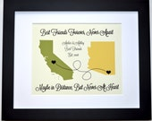 Popular Best Friend Gift: Friends Or Sister Leaving Home Going Away Gifts College Personalized Best Friend Present Friendship Map Art Print