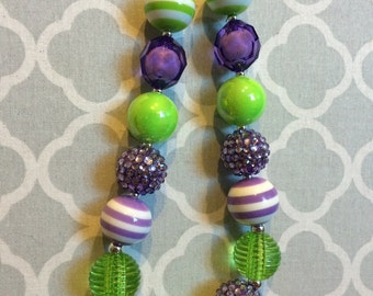 Green and Purple chunky bead necklace