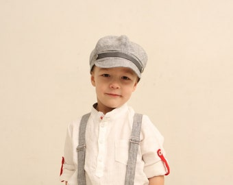 Boys newsboy hat infant boy linen newsboy hat Ring bearer hat Newsboy Cap Photo prop Toddler newsboy hat