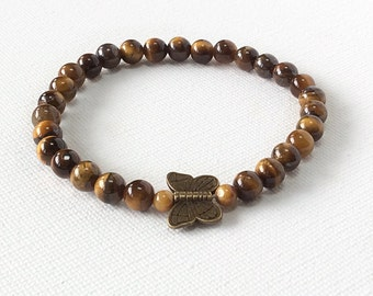 Butterfly bracelet, tigers eye gemstone bracelet, Zen meditation, brown bracelet, stretch, stackable bracelet  butterfly charm
