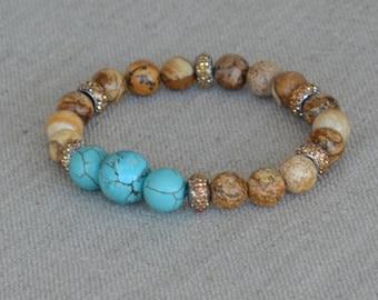 Jasper & Turquoise beaded bracelet, brown and blue, stretch stackable, semiprecious jewelry, positive energy, Zen bracelet