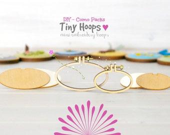 DIY Mini Embroidery Hoop Kits - Pack of 2 - 45mm x 27mm & 62mm x 34mm - DIY Mini Oval Hoop Kits - Choose your Kit