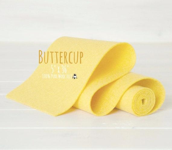 """100% Merino Wool Felt Roll - 5"""" x 36"""" Wool Felt Roll - Wool Felt Color Buttercup-6070 - European Wool Felt - Butter color wool felt - Felt"""