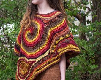 Earthy Freeform Crochet Poncho // Ooak FIber Art