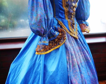 Handmade Tudor Anne Bolyne princess stage party gown medieval queen made to your own measurements and colors
