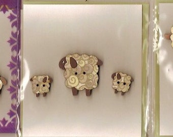 Hand Painted WOODEN SHEEP BUTTONS - 3 Different Design Sets - will make any garment look special!  Can be made into Badges too!