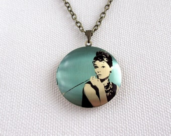 Audrey Hepburn Locket, Vintage Movie Star, Breakfast At Tiffany's, Long Chain Brass Altered Art Necklace