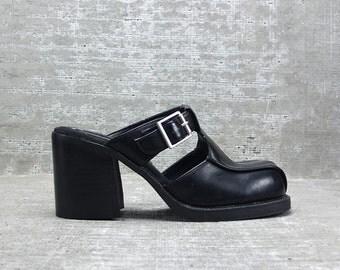 Vtg 90s Black Vegan Pleather Chunky Heel  Cut Out Mule Sandal 9 M