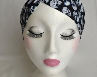 Rockabilly Pin Up Black Skull Print Wire Twist Cotton Headband