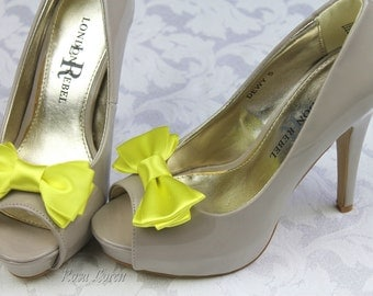 Bright Yellow Shoe Clip, Yellow Bow Shoe Clips, Yellow Shoe Bows, Yellow Wedding Accessories, Yellow Clip Shoes
