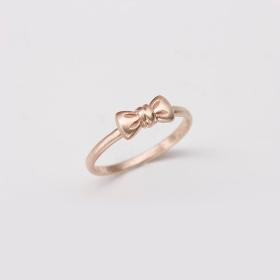 bow ring in 14k gold ribbon ring in 14k pink gold gold