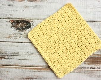 Butter Yellow Crochet Dishcloth or Washcloth - 100% Cotton