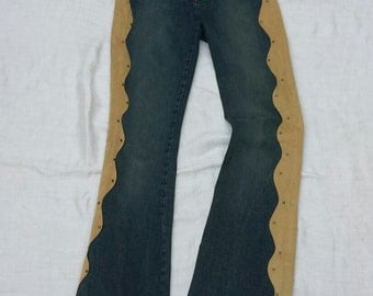 SALE vintage 1970's bell bottom jeans / boho jeans / hippie jeans with suede trim / great for festivals or costuming