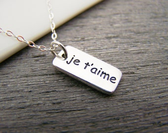 Je T'aime I Love You  - Silver Charm Sterling Silver Necklace Simple Jewelry / Gift for Her