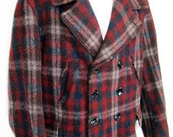Vintage Flannel Lined Plaid Wool Coat Sz.L 1940's