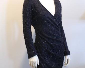 Vintage 80's 90's Designer Carmen Marc Valvo Black Beaded Body-Con Dress