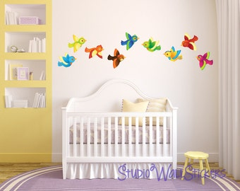 BIRDS Wall Decals REUSABLE Fabric Wall Decal