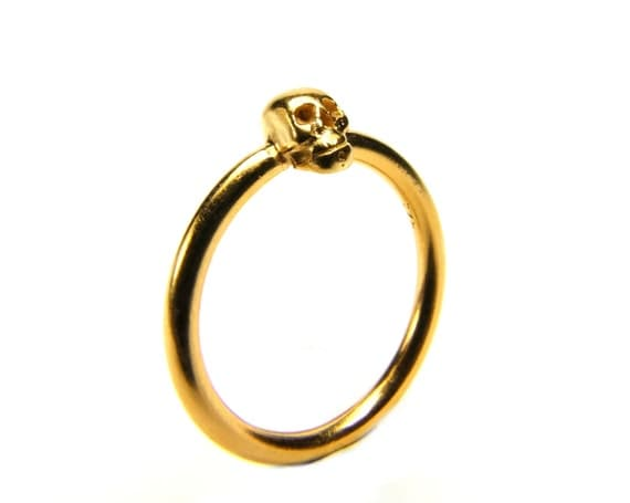 Golden Skull Ring, Valentines Gift, Small Gold Plated Ladys Ring Tiny Skull Ring Memento Mori Goth Ring Sizes 6.5 ; 6.75 ; 7.75