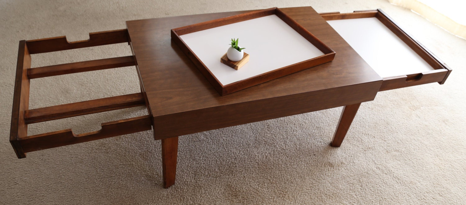 George Nelson Coffee Table With Pull Out Trays By Vintageblend