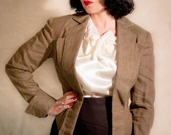 SALE - Linen Pinstripe Jacket // 1930s Women's Tuxedo Blazer // size UK 12 - US 8