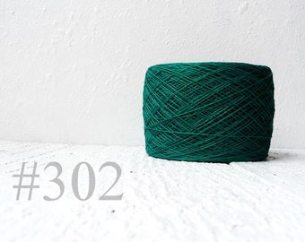 Ball of natural  green Linen Yarn  - emerald # 302