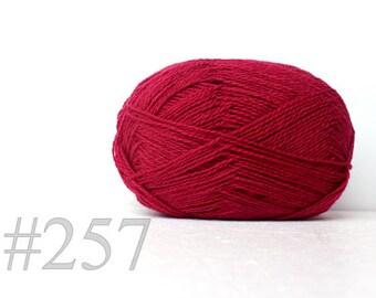 WOOL yarn 100%-Wool for knitting, crochet, - jam pink  #257