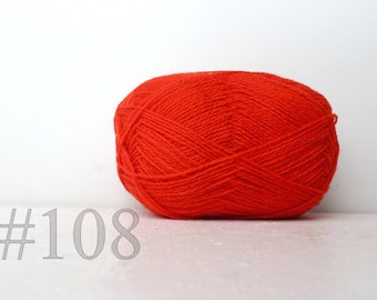 WOOL yarn 100%-Wool for knitting, crochet - neon orange #108