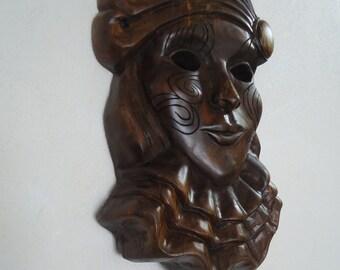 Black walnut Wood mask - Wood carving - Hand carved mask - Wood sculpture - Carnival mask - Venetian Mask - Wood mask - New Orleans art, Art