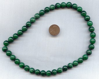 12 Vintage Genuine Jade Smooth 10mm. Round Beads R414