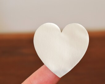 24 Metallic Silver Heart Stickers Envelope Seals 38mm