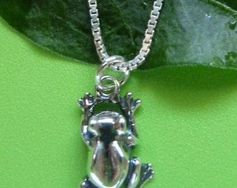 Sterling Silver Large Frog Necklace