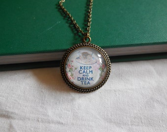 Keep Calm and Drink Tea, Necklace, Jewelry, Antique Bronze, Teacup, Relax, Tea Lover