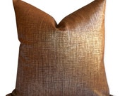 Metalic Robert Allen Alchemy Pillow Cover in Penny - SAME Fabric BOTH Sides - Invisible Zipper