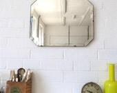Vintage Art Deco Bevelled Edge Wall Mirror or Frameless Mirror