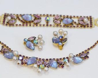 Purple Rhinestone, Art Glass and Pearl WEISS Parure Set