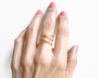 Gold Filled Criss Cross Ring Mid Finger Ring Index Ring For Women