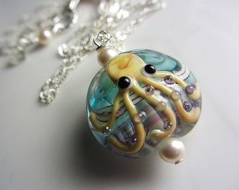 Octopus Lampwork Necklace Ocean Wave Blue and Purple Necklace Lampwork Pendant Necklace Ocean Necklace Lampwork Fun Sea Necklace Beach