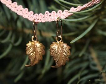 Brass Woodland Leaf Earrings