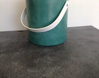 Vintage Aqua Vinyl Ice Bucket - Retro Bar - 80's Vibe Ice Bucket - Vinatge Barware