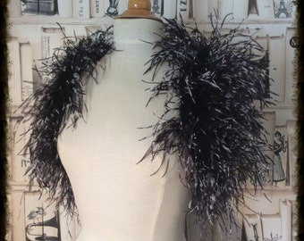 Black and White Ostrich Feather Bolero Wrap Waistcoat Wedding