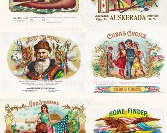 6 x Vintage Cigar Box Labels Illustrations c1900 300dpi Jpg A4 Scrapbooking Aceo Tags Cards