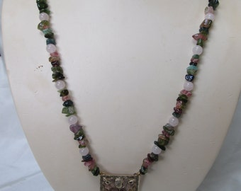 Flapper Style Tourmaline with Rose Quartz Beads and Blackhills Gold Pendant Necklace