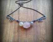 Rose Quartz & Grey Moonstone Necklace - On Sale!