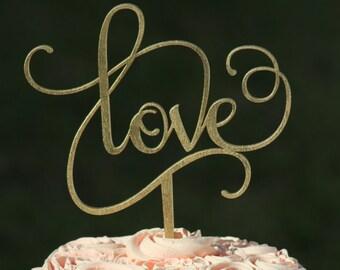 Gold LOVE Wedding Cake topper - Wooden cake topper - Engagement Cake topper