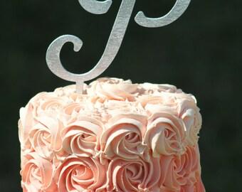 Silver Monogram Wedding Cake topper - Wooden cake topper - Personalized Cake topper