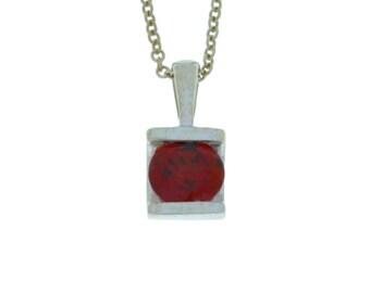 1 Ct Natural Garnet Round Pendant .925 Sterling Silver