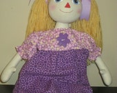 Blonde Hair Annie Ragdoll in Purple Dress