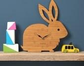 Rabbit Clock, Modern Wall Clock, Childrens Clock, laser cut by Owl & Otter